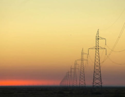 High Voltage Power Lines at Dawn