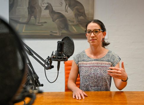 Kate Griffiths talking on a podcast recording