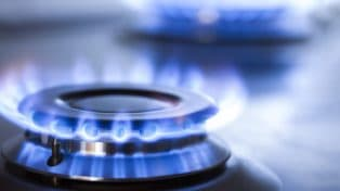 Blue flame of gas cooktop