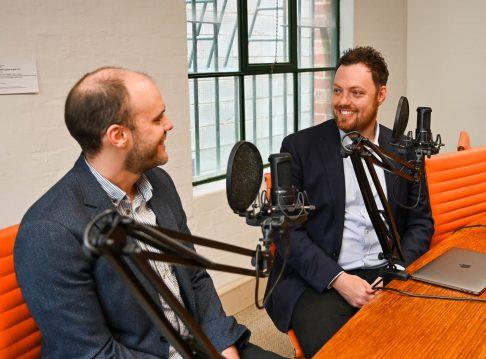 Matt Cowgill and Brendan Coates recording the Grattan podcast