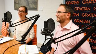 Julie Sonnemann and Peter Goss recording education podcast