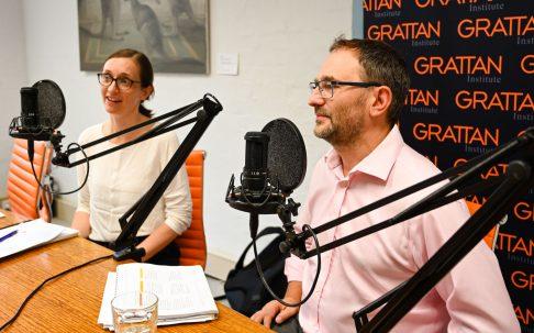 Julie Sonnemann and Peter Goss recording education podcast