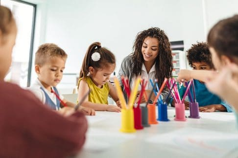 Preschool students in childcare