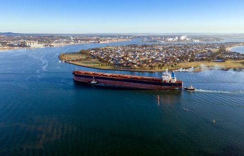 Coal ship entering Newcastle harbour