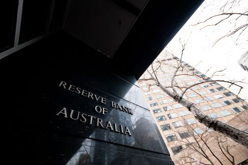 Sign of the Reserve Bank of Australia in Melbourne