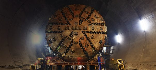 Large tunnel boring machine on an underground construction site